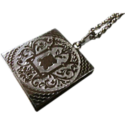 SALE Vintage LOCKET FOB ~ 12KT GP Square Engraved ~ Reticulated LOCKET FOB~  Beautiful ...