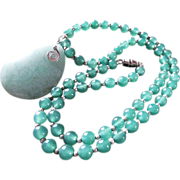 SALE Vintage Soft Green Jade/Jadeite Beads & TearDrop Pendant & Necklace With Silver Beads And