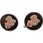 SALE Vintage 10Kt Gold Plated Black & White Early Plastic Cameo & Rhinestone Screw Earrings