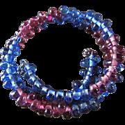 SALE Vintage Art Glass Bead Coiled Wire Bracelet ~ Beautiful Triple Wrap Amethyst & Sapphire .