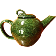 SALE STARKY ~ Green SaltGlazed TEA POT For One ~ Unique Style ~ Handsome Glazing ...