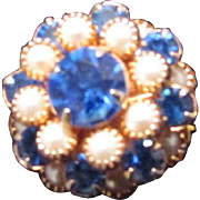 SALE Vintage 12KTGP Faux PEARL & BLUE CRYSTAL Peak Or Wedding Cake Domed Cocktail Ring  ~ ...