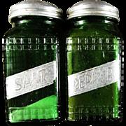 SALE OWENS ILLINOIS ~ Vintage Ridged Pattern HOOSIER/PANTRY Forest Green Salt & Pepper Shakers