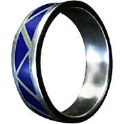 SALE Vintage Inlaid Lapis Lazuli a la  Sterling Silver Wedding Band ~ Immaculate Condition