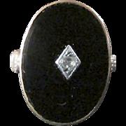 SALE Vintage Black Onyx With Tiny Sparkling Moissanite/Diamond Set As Delightful Centerpiece ~
