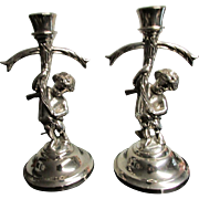SALE Vintage SilverPlate Cherub Bearing Cross CandleHolders ~ Adorn Your Mantel With These ...
