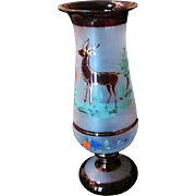 SALE Antique Bohemian Ruby Frosted Vase Handpainting Of Golden Highlighted STAG Prancing Amid