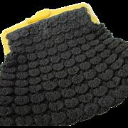 SALE Vintage Black Crocheted Purse PERFECTION With Bakelite Handles ~ Stunning PopCorn Stitch