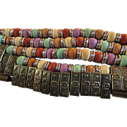 SALE Vintage EyeCatching Wide MultiColored Beaded & Bronze Cinch Belt  ~ Petite to Small Size