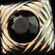 SALE Vintage Faceted Black Onyx & Sterling Silver High-Styling SCARF SLIDE