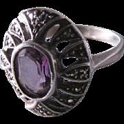SALE Vintage 1980's Pinkish-Purple Topaz a la Marcasites Atop A Sterling Silver Ring ...