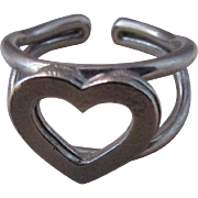 SALE HandCrafted Sterling Silver Open Heart  Ring ~ This Double-Layered Heart Silhouette Is ..