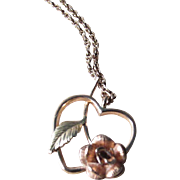SALE KREMENTZ Pendant ~ 8KTYGF Open Heart With Lovely Coppery Gold Rose And Yellow Gold ...