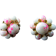SALE Vintage CLUSTER Clip Earrings ~ Soft Pink & White Streaks With Tiny Amber-Colored Bead ..