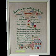 SALE Vintage Sampler *RECIPE For A HAPPY HOME* ~ Embroidered, Framed Sampler Message