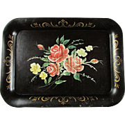 SALE Black Tole Painted Tray Featuring A Brilliant Array Of Roses ~ Good Vintage Condition ...