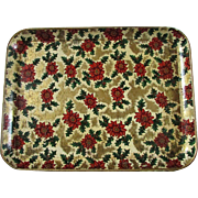 SALE Papier Mache' ~ Holiday Tray Featuring Holly Berries & Poinsettias To Colorfully Serve ..