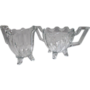 SALE Leaded Crystal Footed Creamer and Sugar Serving Set Vintage 60s