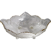 SALE Gold Trim Accents This Stunning Pinkish-Tinged Cut Crystal Oval Footed Bowl With Floral .