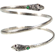 Antique Silver Plate Snake Wrap Bangle French Art Nouveau Jewelry