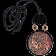 Vintage Art Deco Bronze Bakelite Pendant Necklace Signed M. GAUMONT French jewelry