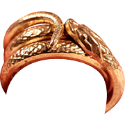 Antique Brass Snake Wrap Man's Ring French Art Nouveau Jewelry Size Approx 11.75 US