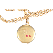Antique Gold Plate Cherries Locket Extra Long Chain French Victorian Jewelry