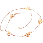 Antique Art Nouveau Gold Plated Rose Necklace French Jewelry
