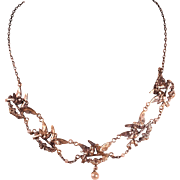 Antique Late Victorian Silver Plate Uncommon Naturalist Necklace Charming French Jewelry