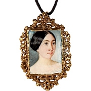 Antique 18k Yellow Gold Pendant Hand Painted Miniature French Romantic Jewelry Circa 1830