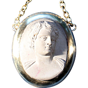 Antique Lava Stone Pendant Necklace On Gold Tone French Victorian Jewelry