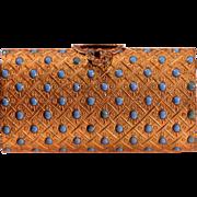 Antique Victorian Gold Tone Metal Enamel Purse Antique Italian