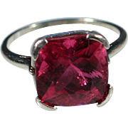 Vintage Art Deco Large Solitaire Tourmaline 18k White Gold Ring French Jewelry Size 6.50 US