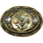 Reverse Carved Glass on Mother Of Pearl Pin