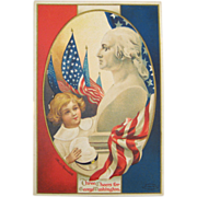 Young Girl George Washington Bust Embossed Patriotic Postcard