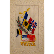 WWI Embroidered Flags of the United Allies Patriotic Postcard