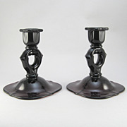 Pair Paden City Amethyst Crows Foot Candle Holders