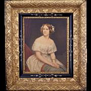 Gilt Victorian rectangular frame with black inner border late 19th century