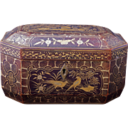 Chinese painted lacquer tea caddy late 19th century