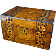 Tunbridge marquetry wood box 19th century