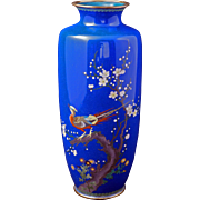 Meiji Japanese blue cloisonné vase with pheasant design circa 1900