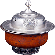 Tibetan covered wooden bowl with metal alloy top and inner lining 19th century