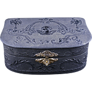 Black fabric covered Victorian jewelry or boudoir box 19th century