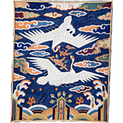 Korean embroidered rank badge for a civil official late Joseon dynasty c late 19th century ...