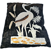 Aesthetic Movement Victorian wool decorative pillow with crane and water weed design late 19th