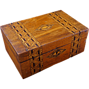 English Tunbridge wood marquetry box 19th century