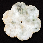 Chinese pale green with dark green inclusions jade flower blossom from the Yuan or Ming ...