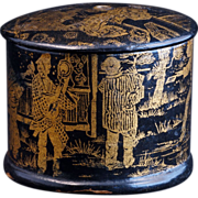 Victorian Aesthetic Movement simulated lacquer pin container with a Japanized scene in gold la