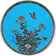 "Japanese Meiji 12"" cloisonné charger with a butterfly, chrysanthemum and peony circa 191"