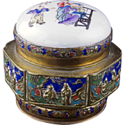 SOLD Chinese brass and enamel box with a re-purposed old porcelain paste box lid early 20th ce